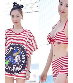 e688d21a48ceb Nz Bandeau Bikinis Multi-pieces Cover-Ups,Color Block Padded Bras Chiffon  Cotton Spandex Red Black
