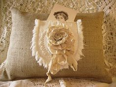 Elegant Burlap Pillow...with a lacy rosette ribbon flower pocket...with a photo.