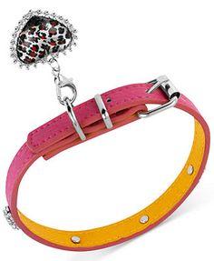 Betsey Johnson Dog Collar, Pink Polyurethane and Leopard Heart Charm Dog Collar