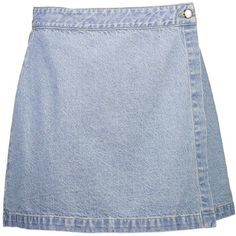 Garage Denim Wrap Skirt ($15) ❤ liked on Polyvore featuring skirts, denim skirts, blue skirt, summer skirts, blue denim skirt and wrap skirt