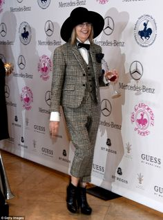 Blast from the past: Diane Keaton channeled her iconic character Annie Hall in an ensemble that harkened back to her role's wardrobe