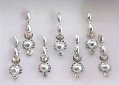 Silver Long Bollywood Bindis/ Indian India Bindis/Bindi Sticker/ Bindi Jewels/ Face Jewels/Fancy Bindis Online/Silver bindis/Body jewelry