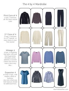 4 by 4 Travel Wardrobe in navy and beige with accents of muted teal, lavender and blue