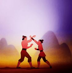 Mulan training as ping. *knife hand* *duck* *spinning outside crescent kick*