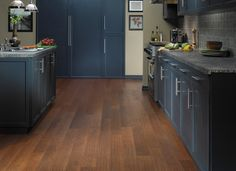 Blue/gray kitchen cabinets with gray counter tops Engineered Hardwood Flooring, Grey Flooring, Laminate Flooring, Hardwood Floors, Basement Kitchen, Home Decor Kitchen, Blue Gray Kitchen Cabinets, Cabinets And Countertops, Kitchen Gallery