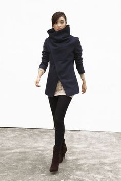 Navy Blue High Collar Jacket Winter Wool Women Coat - Custom Made - NC493 on Etsy, $169.99
