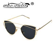 WHO CUTIE New Women 6 Colour Luxury Cat Eye Sunglasses Girl Sun Glasses Double-Deck Alloy Frame UV400 Men Coating W285