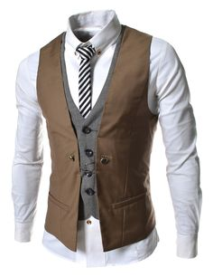 Brown Business Men Layered Vests Clothing