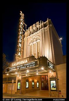 California Theatre at night. San Jose, California, USA