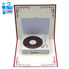 Record player pop-up card 3d Cards, Pop Up Cards, Folded Cards, Cool Cards, 3d Paper Art, Paper Pop, Cards For Men, Congratulations Greetings, Player Card