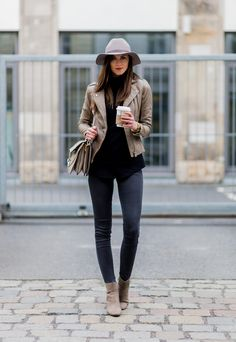 Yet another piece to try is the beige leather jacket, which will go perfectly with black jeans to create a simple yet sophisticated spring look. Barbora Ondrackova wears the style with a fedora and matching beige Chelsea boots. Jacket/Boots: Zara, Sweater: Proenza Schouler, Jeans: Topshop, Bag: Chloé.