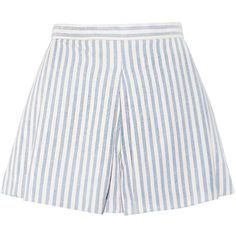 Woven Striped Shorts ($48) ❤ liked on Polyvore featuring shorts, bottoms, skirts, stripe shorts, high waisted zipper shorts, high-waisted shorts, high-rise shorts and high waisted cotton shorts