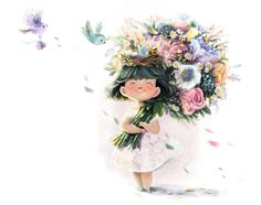 Good Morning, Floral Wreath, Wreaths, Drawings, Illustration, Artist, Anime, Afrikaans, Lady