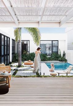 A budget-savvy couple channel Palm Springs vibes and build a home by the sea in northern NSW. Palm Springs Houses, Palm Springs Style, Swimming Pool Designs, Swimming Pools, Outdoor Spaces, Outdoor Living, Courtyard Pool, Concrete Pool, Small Backyard Pools