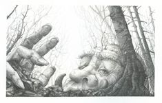"Pencil Drawing by Melissa Mary Duncan, called, ""The Old Mountain Troll"" It is said, by some story tellers, that the old ones can move about in the daylight."