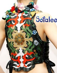 leather vest with flowers 03