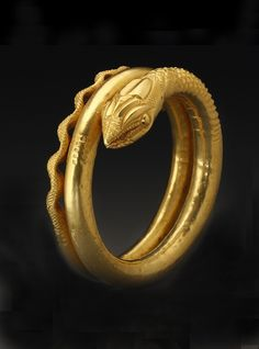 A gold snake armlet ~ Gold ~ Egypt ~ Roman period ~ century A. Art Antique, Antique Jewelry, Vintage Jewelry, Vintage Brooches, Snake Jewelry, Sea Glass Jewelry, Gold Jewelry, Crystal Jewelry, Jewelry Art