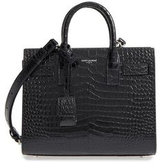 Women's Saint Laurent Nano Sac De Jour Croc Embossed Leather Tote ($2,290) ❤ liked on Polyvore featuring bags, handbags, tote bags, shopper tote, crocodile tote, crocodile purse, yves saint laurent purses and shopping tote bags