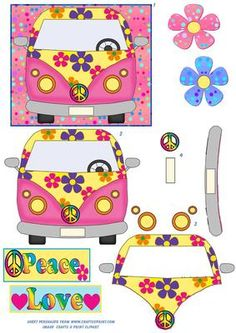 Flower Power VW Van Topper on Craftsuprint designed by Annette Crossley - Colour full VW style hippy flower power van 3D decoupage topper in pink and yellow with various coloured flowers and pink spotty background,plus 2 spotty flower toppers in pink and blue.You could even use a piece of acetate for the wind screen. - Now available for download!