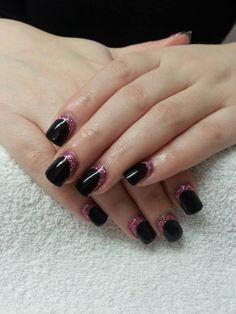 Black gel with pink glitter