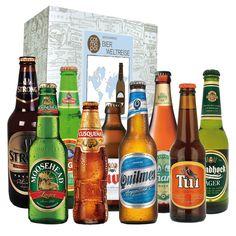 """Einmal um die ganze Welt trinken! Biere aller Kontinente stecken im wunderbaren Geschenkset """"Bier-Weltreise"""", mit dem Sie bei allen Liebhabern der Hopfenschorle richtig liegen. Das Set aus 9 Flaschen, unter anderem mit chinesischem, argentinischem und kanadischem Bier, passt zum Vatertag wie zum Geburtstag, zur Party wie zu jedem anderen fröhlichen Anlass. Wohl bekomm's!"""