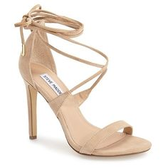 "Steve Madden 'Presidnt' Lace-Up Sandal, 4"" heel (6.095 RUB) ❤ liked on Polyvore featuring shoes, sandals, sand suede, strap sandals, lace up high heel sandals, strap high heel sandals, strappy high heel sandals and cut out sandals"