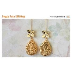 Gold Drop Earrings, Long Dangle Earrings, Matte Gold Earrings,... ($31) ❤ liked on Polyvore featuring jewelry and earrings