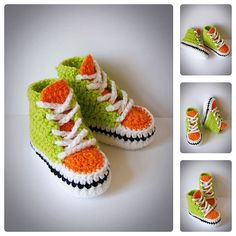 Green & Orange Crochet Baby Sneakers Newborn от BabesCrochets