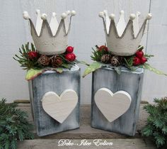"""Kerzenständer Set """"Shabby-Herzen"""" von Deko-Idee Eolion auf DaWanda.com"""