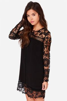 Take Me There Black Long Sleeve Lace Dressat Lulus.com!