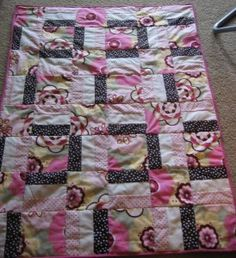 lines and squares   Pink and Brown Polka Dot Baby Quilt