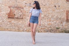 Off shoulder gingham top, jeans shorts, embroidered bag, rose gold sandals, rose gold watch