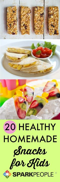 20 Nifty, Nutritious Snacks for Kids. Some great back-to-school ideas here! | via @SparkPeople #backtoschool #snack #kidfriendly #healthy