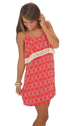Fringy Flounce Dress, Red