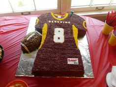 Connor's 8th Birthday. Redskins cake Football Birthday Cake, Boss Birthday, Sports Theme Birthday, 8th Birthday, Birthday Cakes, Birthday Parties, Redskins Cake, Sport Cakes, Red Skin