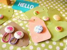DIY:: So Cute ! Button Ponytail Holders {Handmade Gift}