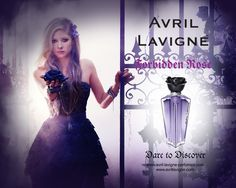 FORBIDDEN ROSE was the second perfume by Avril Lavigne and it's from 2010, it smells so beautiful like apples and stuff, it has a violet rectangular bottle with a silver ring and a black sprayer with a black rose for a lid and is a very romantic perfume too, and I love this perfume too! :D
