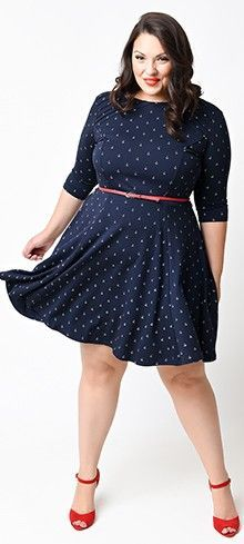 Unique Vintage Plus Size Nautical Anchor Good Ship Flare Dress