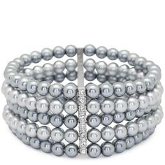 Two Toned Grey Pearl Multi Row Bar Bracelet ($12) ❤ liked on Polyvore featuring jewelry, bracelets, women's clothing, gray pearl jewelry, pearl jewellery, grey pearl jewelry, grey jewelry and pearl jewelry
