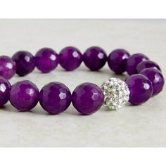 Purple Agate Bracelet Dark Purple Bracelet Bling Ball Pave Amethyst... (47 CAD) ❤ liked on Polyvore featuring jewelry, bracelets, quartz jewelry, pave bangle, bohemian style jewelry, boho bangles and violet jewelry