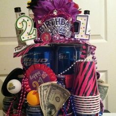 21st Bday cake. Inspired from baby shower diaper cake