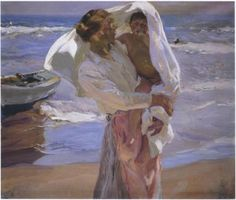 The artwork Just Out of the Sea - Joaquin Sorolla y Bastida we deliver as art print on canvas, poster, plate or finest hand made paper. Google Art Project, Art Plage, Spanish Painters, Oil Painting Reproductions, Paintings I Love, Oil Paintings, Claude Monet, Art Google, Art History
