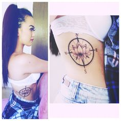 Lotus flower with compass tattoo.