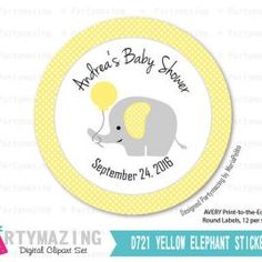 Printable Elephant Tags, Baby Shower tags, Personalized Yellow and Gray Stickers, Gift Tags, Cupcake Toppers,  D721