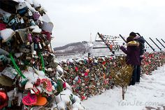 """Namsan Locks of Love, Seoul, South Korea. """"Locks of love is a custom in some cultures where love birds would lock their padlocks at public areas and throw away the key to symbolise that their love will be locked forever."""""""