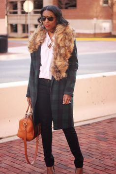 DIY Fur Collar Wool Coat