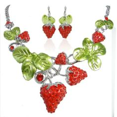 Rhinestoned strawberry set
