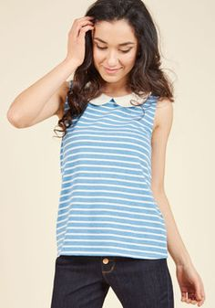 Everyday Fave Tank Top in Blue. This striped top is like a basic, but better! #blue #modcloth
