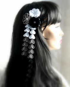 Kanzashi Fabric Flowers hair clip with falls  Black white by JuLVa, $28.00