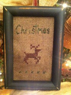 Primitive Reindeer Sampler ~ Cross Stitch Tuckaway ~Early Christmas Ornament~ #NaivePrimitive #Stitcher Primitive Christmas, Christmas Cross, Handmade Christmas, Christmas Fun, Christmas Ornament, Ornaments, Cross Stitch Love, Cross Stitch Samplers, Cross Stitching